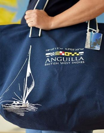 Large Beach Bag HapyBarracuda Anguilla nautical flags, navy cotton canvas durable and stylish for beach, shopping sports fits four beach towels and more