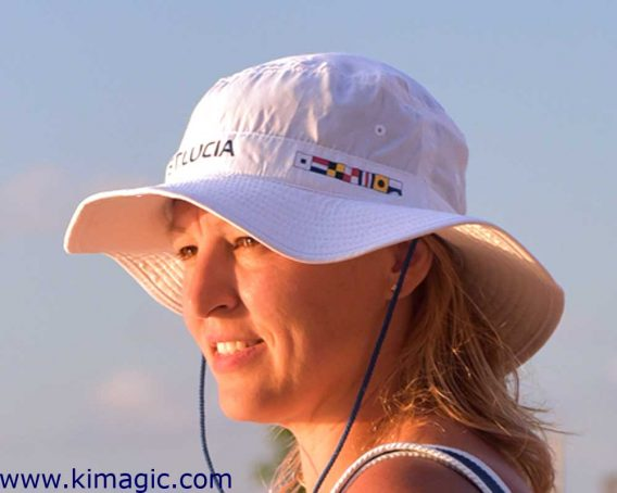 Panama hat HappyBarracuda St.Lucia UV nautical flags white adjustable light breathable rayon from bamboo