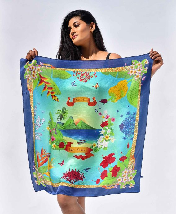 Mulberry Silk Scarf St. Lucia Blue