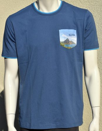 T-Shirt Men 100% cotton print on pocket St. Lucia Pitons