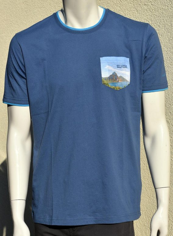 T-Shirt HappyBarracuda St. Lucia Pitons print on pocket