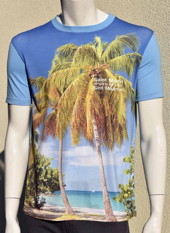 T-Shirt Men Digital Print full colour St.Maarten Happy Bay