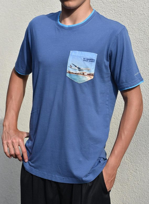 T-shirt men 100% cotton Print on pocket St. Maarten Maho Beach