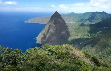St. Lucia, Petit Piton view from Gros Piton
