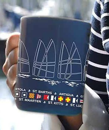 Nautical Coffee Mug, sailing regatta, Caribbean Islands, nautical flags, sails, bone china