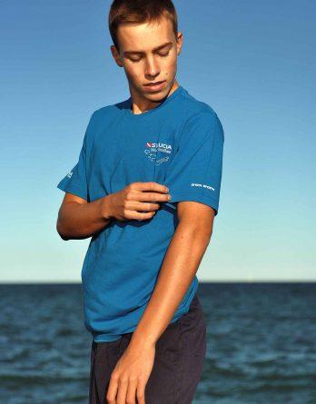 T-shirt blue St. Lucia diver turtle logo