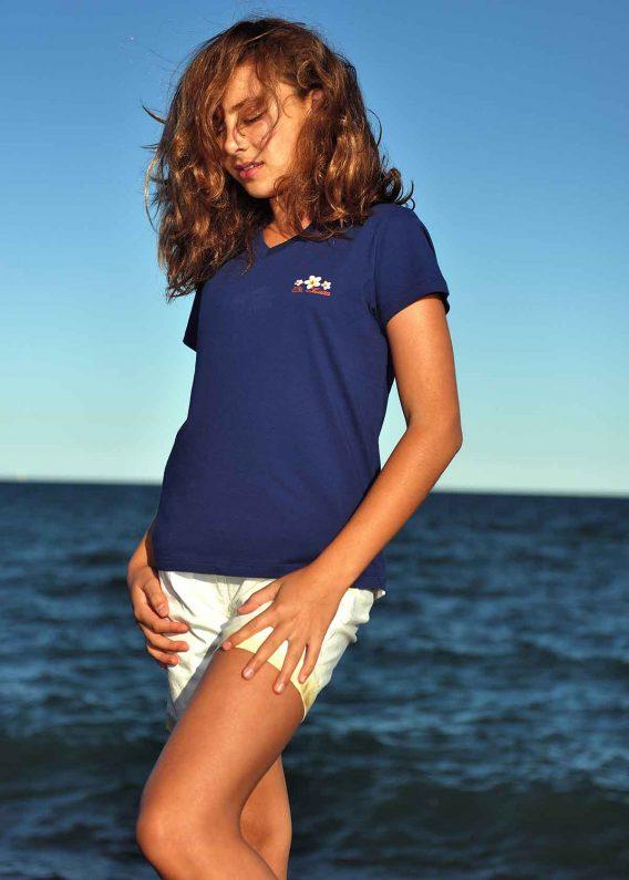 Women v-neck t-shirt navy St. Lucia flowers