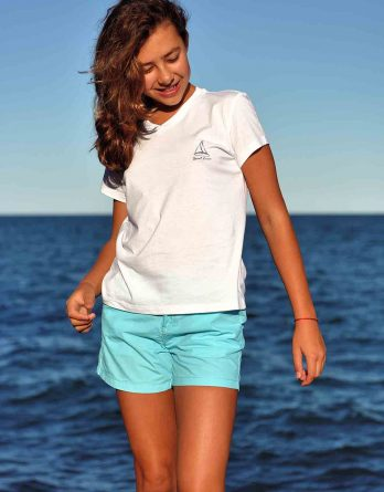 Women v-neck t-shirt white St. Lucia sail boat
