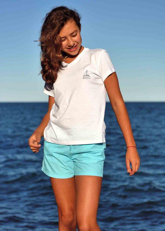 Women v-neck t-shirt white St. Lucia sail boat